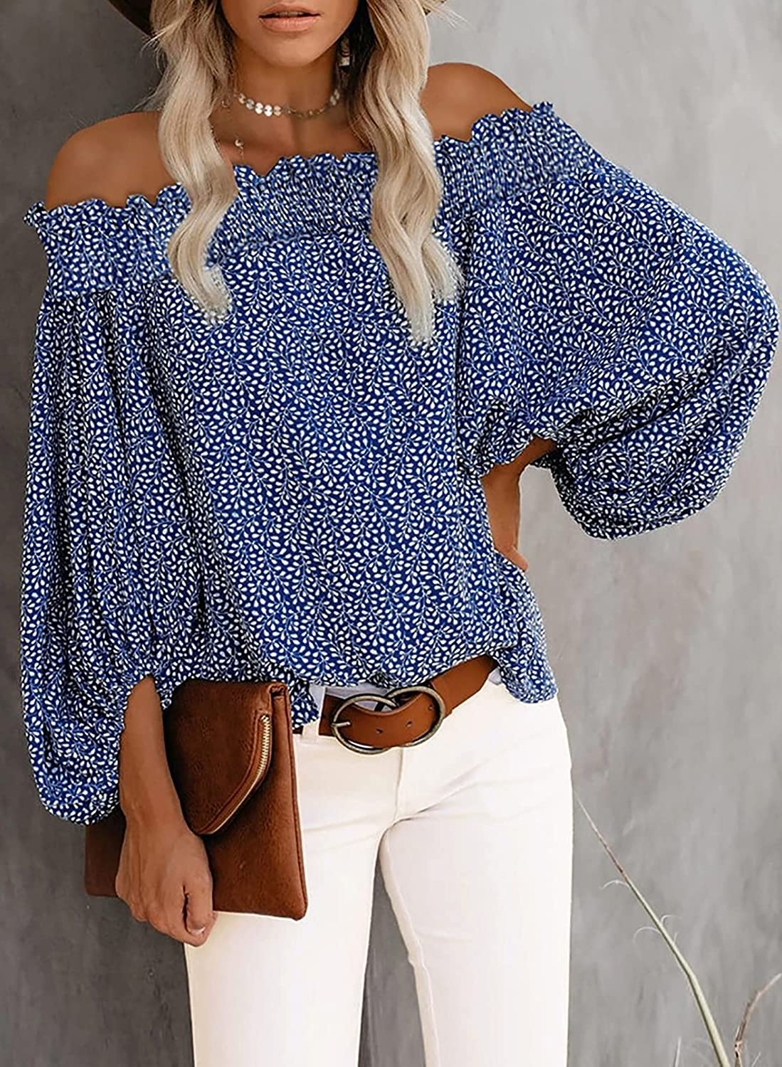 Happy Sailed Womens Off Shoulder Blouses Floral Printed Lantern Sleeve Ruffle Shirts Tops S-2XL