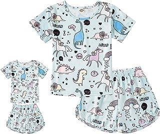 ModaIOO Matching Dolls & Girls Pajamas Sleepwear Dress Big Girls Pyjama Kids Night Shirt Set