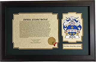 Quirós - Coat of Arms and Last Name History, 14x22 Inches Matted and Framed