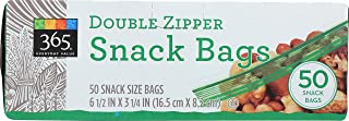 365 Everyday Value, Double Zipper Storage Bags, Snack Size, 50 Count