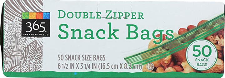365 Everyday Value, Double Zipper Snack Bags, 50 ct