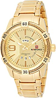 Naviforce Men's Gold Dial Genuine Leather Analogue Classic Watch - NF9117S-GG