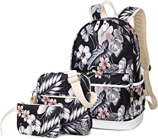 3pcs Casual Daypack Cute 3 Pieces Bookbag School Bag Laptop Backpack Sets for Girls Women
