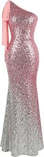 Angel-fashions Women's Asymmetric Ribbon Gradient Sequin Mermaid Long Prom Dress