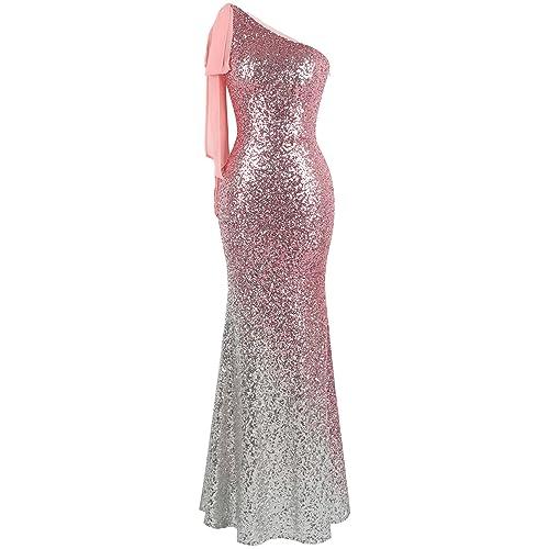 4d37b9a6617 Angel-fashions Women s Asymmetric Ribbon Gradient Sequin Mermaid Long Prom  Dress