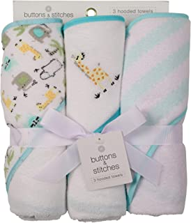 Buttons and Stitches 3 Piece Infant Hooded Towel, Giraffe Prints
