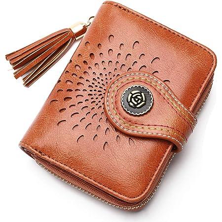 APHISON Damen Geldbörse Portemonnaie Kleine Geldbeutel Frauen RFID Schutz Wallets Bifold Reißverschluss PU Leder Mädchen Geschenk für Frauen (5892BROWN