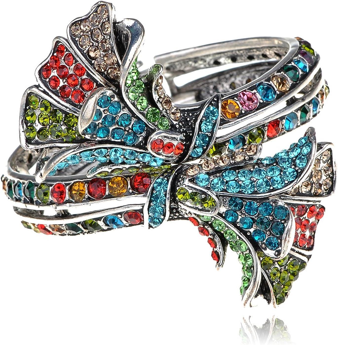 Alilang Antique Floral Multicolor Crystal Rhinestone Flower Bracelet Bangle Cuff