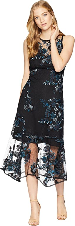 Essense Embroidered Lace Midi Dress