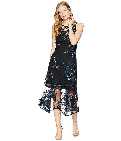 Nanette Lepore Essense Embroidered Lace Midi Dress (Black/Azure) Women