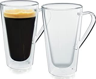 Casa Bellante Doublewall Glassware 12 oz Bellagio Tumbler with Handle (Set of 2), 2-Pack