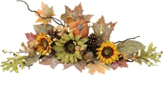 Admired By Nature GFW6003-NATURAL Artificial Sunflowers/Pumpkins/Pinecone/Maple Leaves/Berries Fall Festive Harvest Display Swag, 30