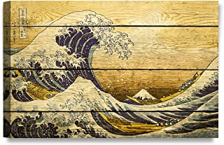 DECORARTS - Canvas Prints Wall Art -The Great Wave Off Kanagawa on Vintage Wooden Background .Giclee Print on Canvas for Wall Decor. 30X20x1.5