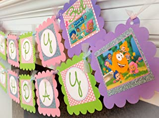 PARTY PACK SPECIAL - Bubble Guppies Inspired Happy Birthday Collection - Pale Pink Polka Dots, Baby Blue Glitter Background & Lime Green, Lavender and White Accents - Party Packs Available