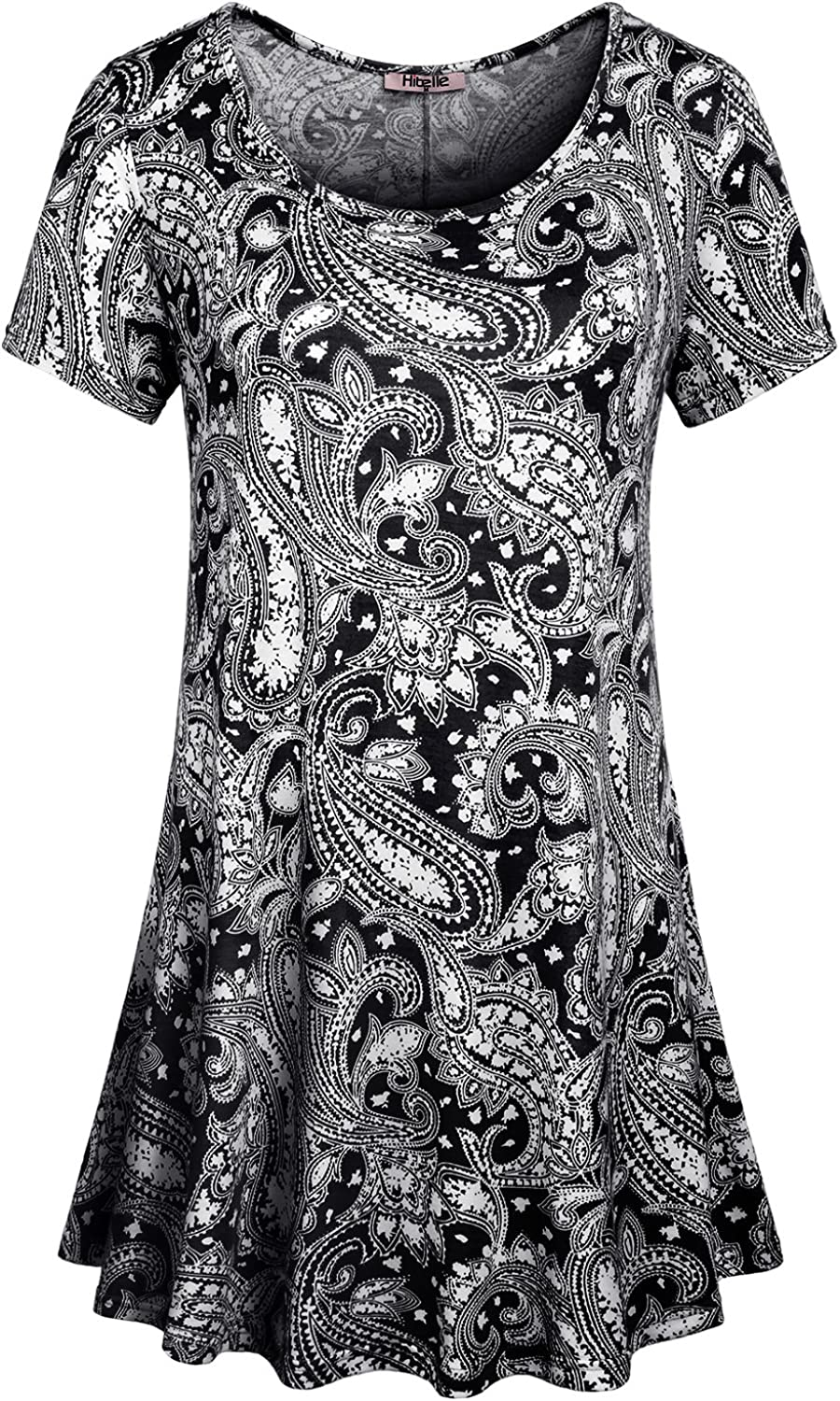 Hibelle Women's Crew Neck Short Sleeve Printed Flared Tunic Tops