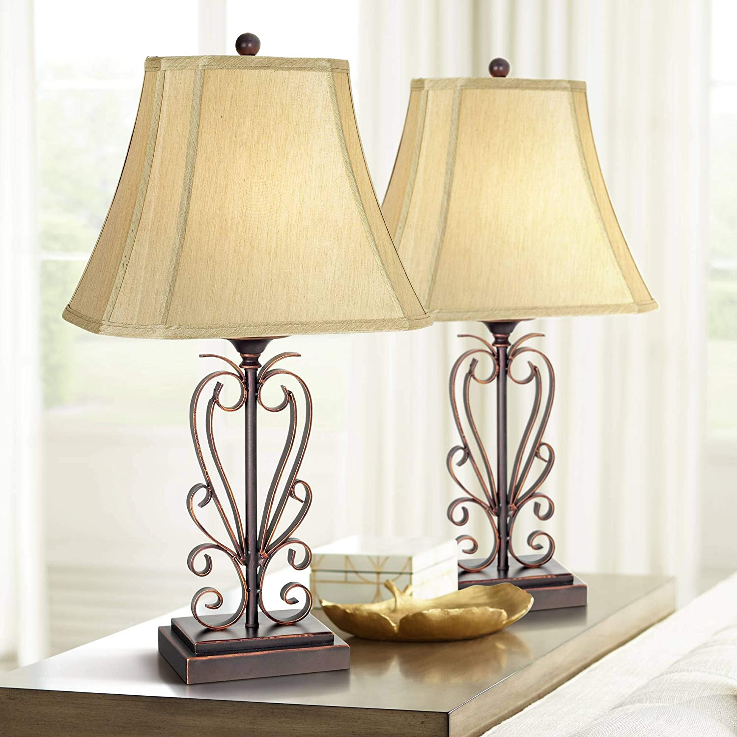 OFFer Traditional Table Lamps Set of 2 Scrollwork Challenge the lowest price Bronze Cop Open Iron