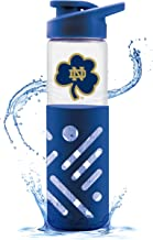 Univ Of Notre Dame Glass Water Bottle W Silicon Protector Sleeve 23 Oz