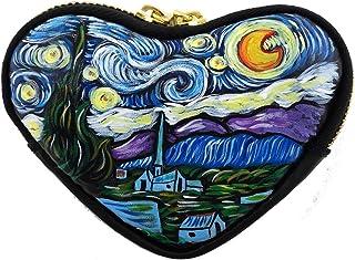 Portamonete dipinto a mano - LA NOTTE STELLATA DI VAN GOGH - Porta monete da donna a forma di cuore per rossetto, carta cr...