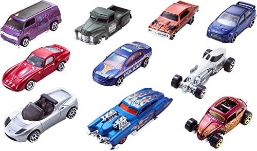 Hot Wheels 54886 10-Car Pack of 1:64 Scale Vehicles​, Blue
