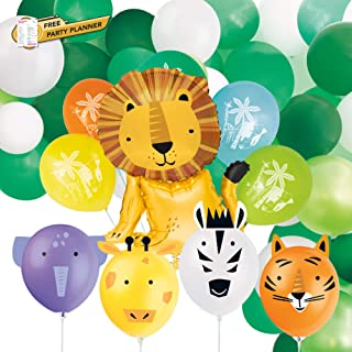 Unique Animal Safari Balloons Party Bundle | 4 Balloons to Decorate, Huge Foil Lion Balloon, 4 Latex Balloons, and Green W...