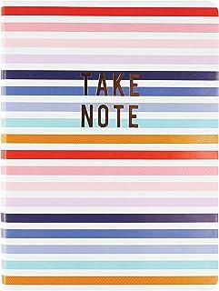 """Graphique Diário de couro vegano médio, listras – 15,24 cm x 20,32 cm, 192 páginas pautadas, a citação""""Take Note"""" enfeitad..."""