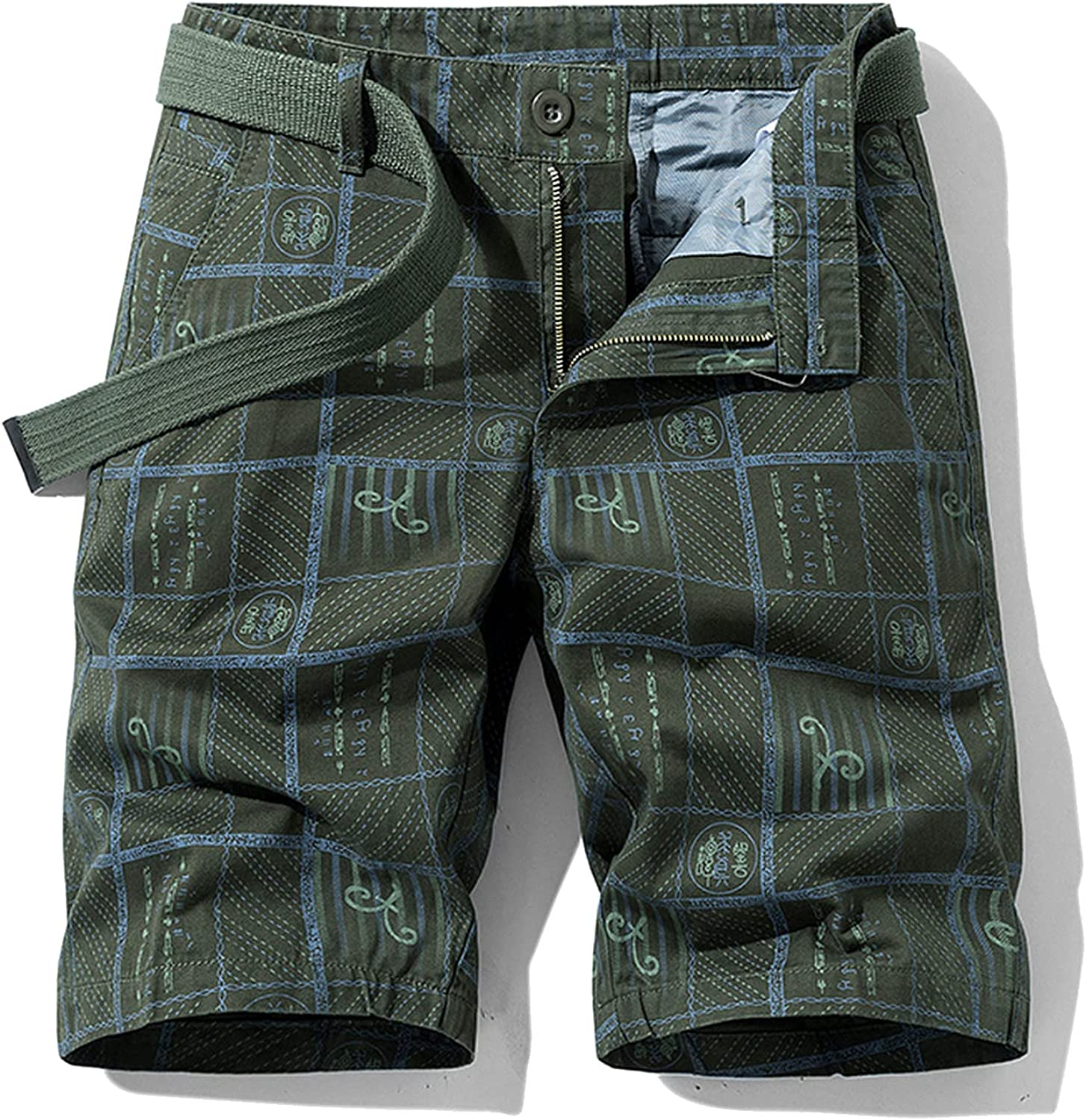 B dressy New Summer Cargo Shorts Men Camouflage Cotton Khaki Loose Casual Outwear Overalls-Green-2-38