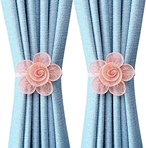 YING CHIC YYC 1Pair Fashion Mesh Flower Magnetic Curtain Tiebacks Natural Floral Curtain Buckle Bedroom Decor