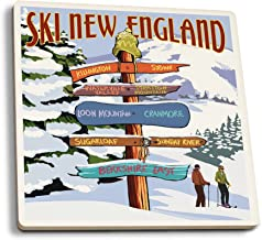 Lantern Press New England - Ski Areas Destinations Sign (Set of 4 Ceramic Coasters - Cork-Backed, Absorbent)