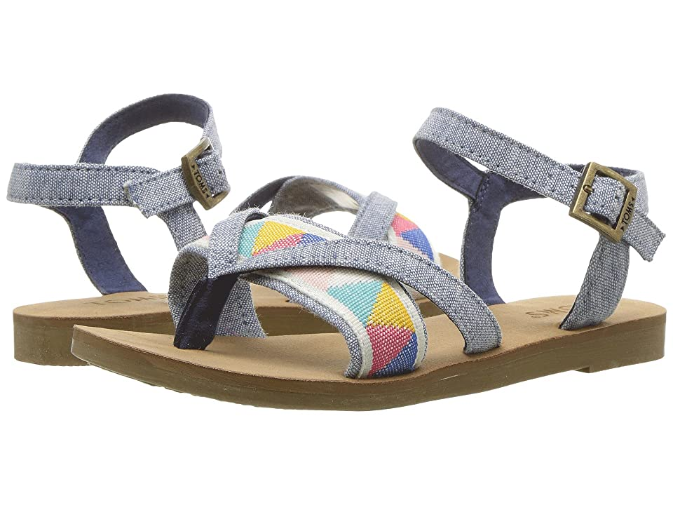 TOMS Kids Lexie (Little Kid/Big Kid) (Blue Slub Chambray/Tribal) Girl