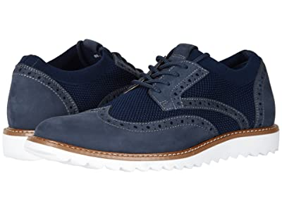 Dockers Hawking Knit/Leather Smart Series Dress Casual Wingtip Oxford with NeverWet (Navy Knit/Nubuck) Men