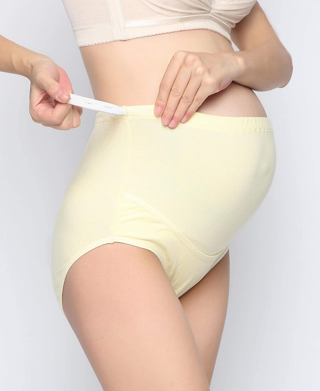 Aibrou Women Maternity Knickers Pregnancy Underwear Under the Bump Low Waist Panties Postpartum Nursing Underpants Hipster Shorts Briefs Pack of 4