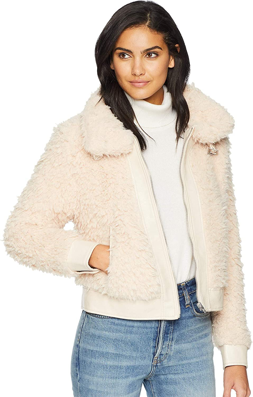 [BLANKNYC] Blank NYC Womens Shag Faux Fur Jacket in Cloud Nine