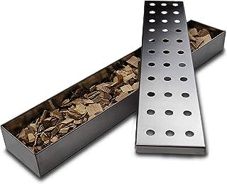 Outdeers Pudełko do wędzenia ze stali nierdzewnej | bardzo długi pojemnik na wędzarnię do wszystkich grilli gazowych i węg...