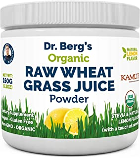 Dr. Berg's Organic Raw Wheat Grass Juice Powder with KamutTM – Natural Lemon..