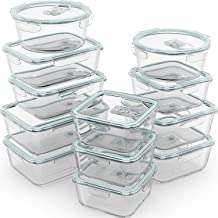 Razab 24 Pc Glass Food Storage Containers Airtight Lids Microwave/Oven/Freezer & Dishwasher Safe - Steam Release Valve BPA...