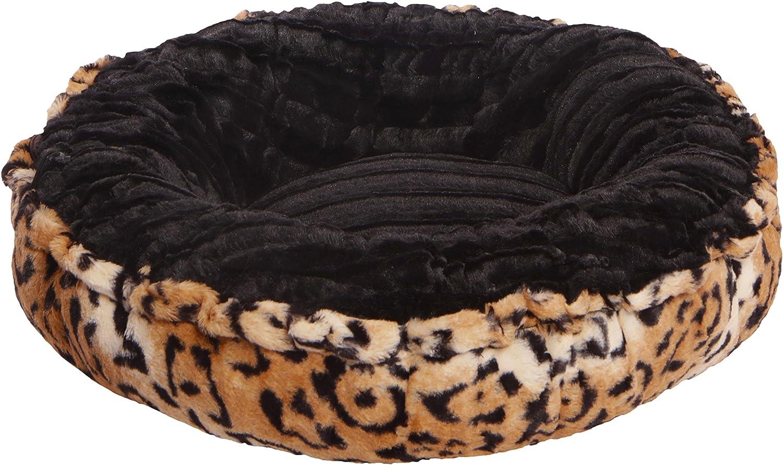 BESSIE AND BARNIE Black Puma Chepard Luxury Ultra Plush Faux Fur Bagelette Pet Dog Bed (Multiple Sizes)