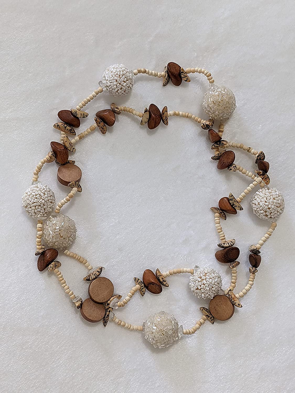 Necklace wood coco shell and Popular c brown 42-inch sold out cream glass