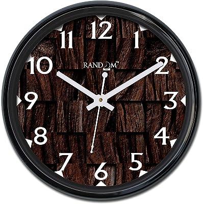 Random Square Block Texture Round Plastic Wall Clock (33.02 cm x 33.02 cm x 5.08 cm, Black)