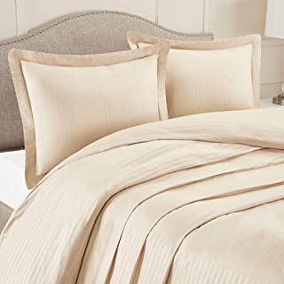 """Nestl Bedding Duvet Cover 2 Piece Set – Ultra Soft Double Brushed Microfiber Bedding – Damask Dobby Stripe Comforter Cover and 1 Pillow Sham - Twin/Twin XL 68"""" x 90"""" - Beige Cream"""