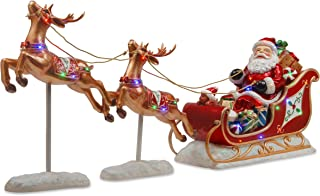 National Tree 30 Inch Reindeer Pulling Sleigh and Santa with Multicolored LED Indoor/Outdoor Lights (BG-19387AST)