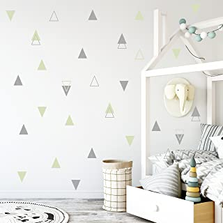 The Boho Design Wall Vinyl Sticker Decal Decor Nursery. Adhesive Mint Tribal Triangles for Kids Baby Bedroom Decoration. (Light Green and Grey)