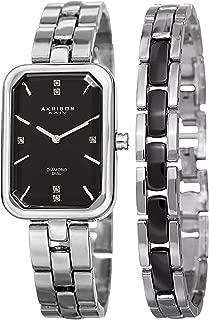 Akribos XXIV Women's Diamond Rectangular Watch Set - Genuine Diamond Markers On Stainless Steel Watch with Matching Jewelry Bracelet - AK995