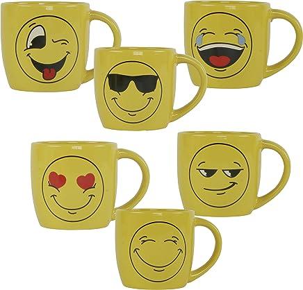 Preisvergleich für 6x Tasse Emojies gelb 325 ml Emoticon Emojicon Lach Smiley 6er Set Keramik