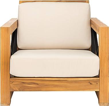 Safavieh CPT1009A Couture Curacao Brazilian Teak Outdoor Patio Club Chair, Natural/White