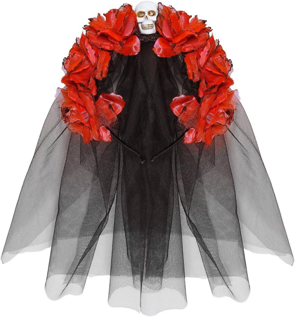 Velo Dia de Los Muertos Nastro per Capelli con Teschio Halloween Decorazione acconciatura con Rose NET TOYS Cerchietto Motivo Giorno dei Morti Ornamento Capelli Stile La Catrina Nero e Rosso