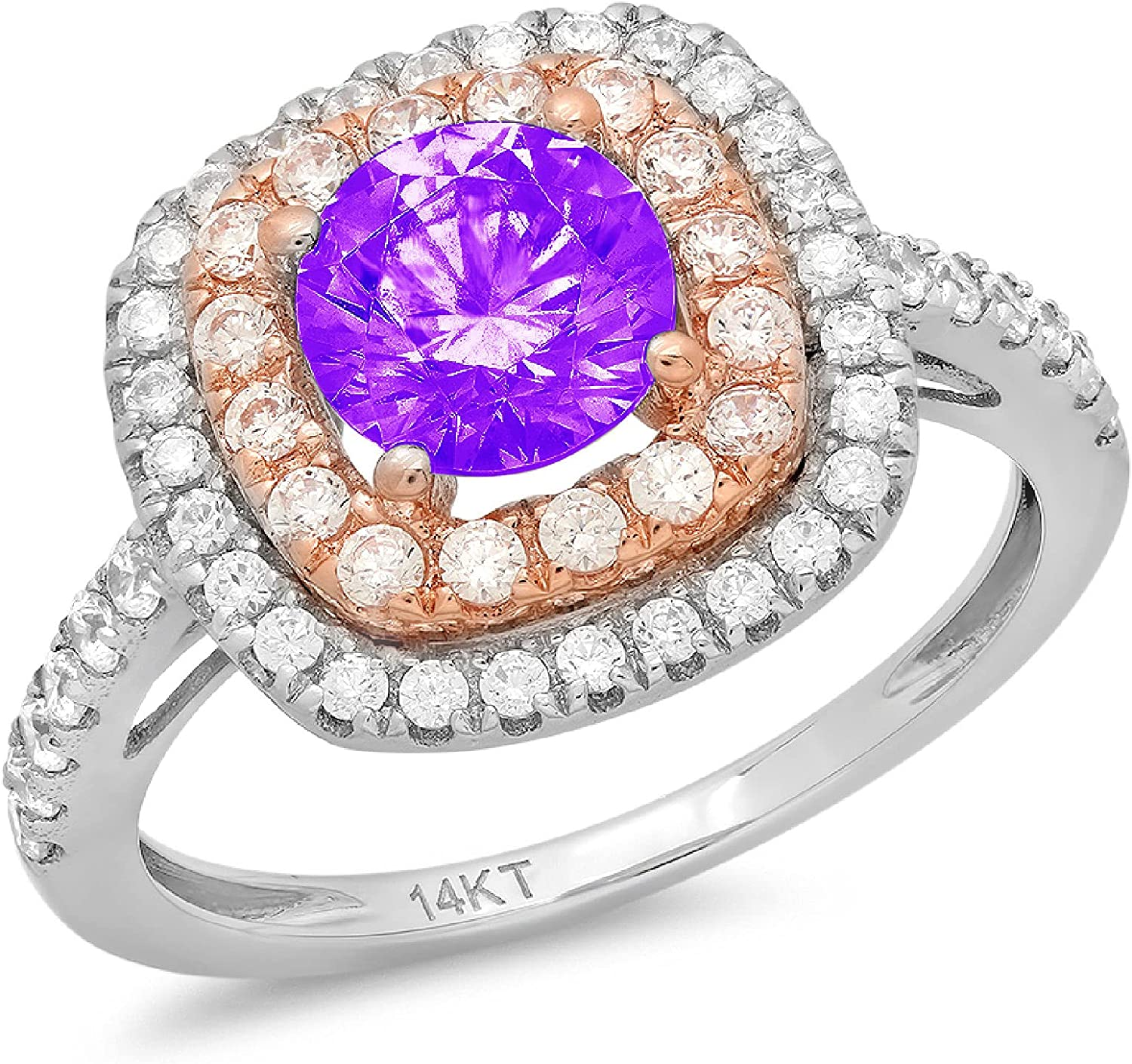 1.75 ct Round Cut Solitaire accent double Halo Natural Purple Amethyst Gem Stone Ideal VVS1 Engagement Promise Statement Anniversary Bridal Wedding Ring 14k two tone Gold
