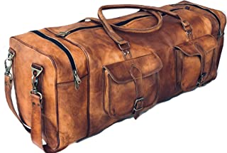 Sponsored Ad - Leather Duffel Bag Large 32 Inch Square Duffel Travel Gym Sports Weekender Luggage Bag For Men And Women