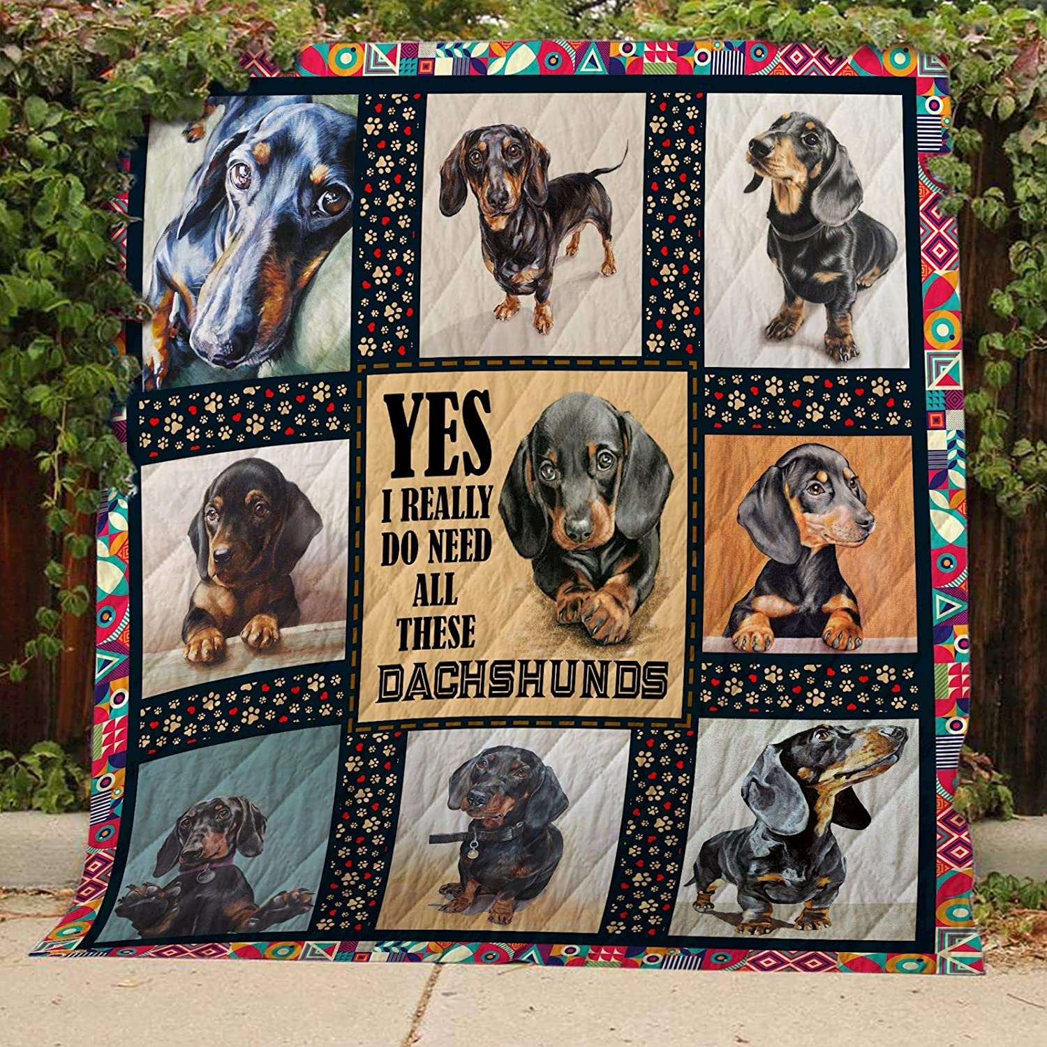 Dachshund Quilt TH390, Queen All-Season Quilts Comforters with Reversible Cotton King Queen Twin Size - Best Decorative Quilts-Unique Quilted for Gifts