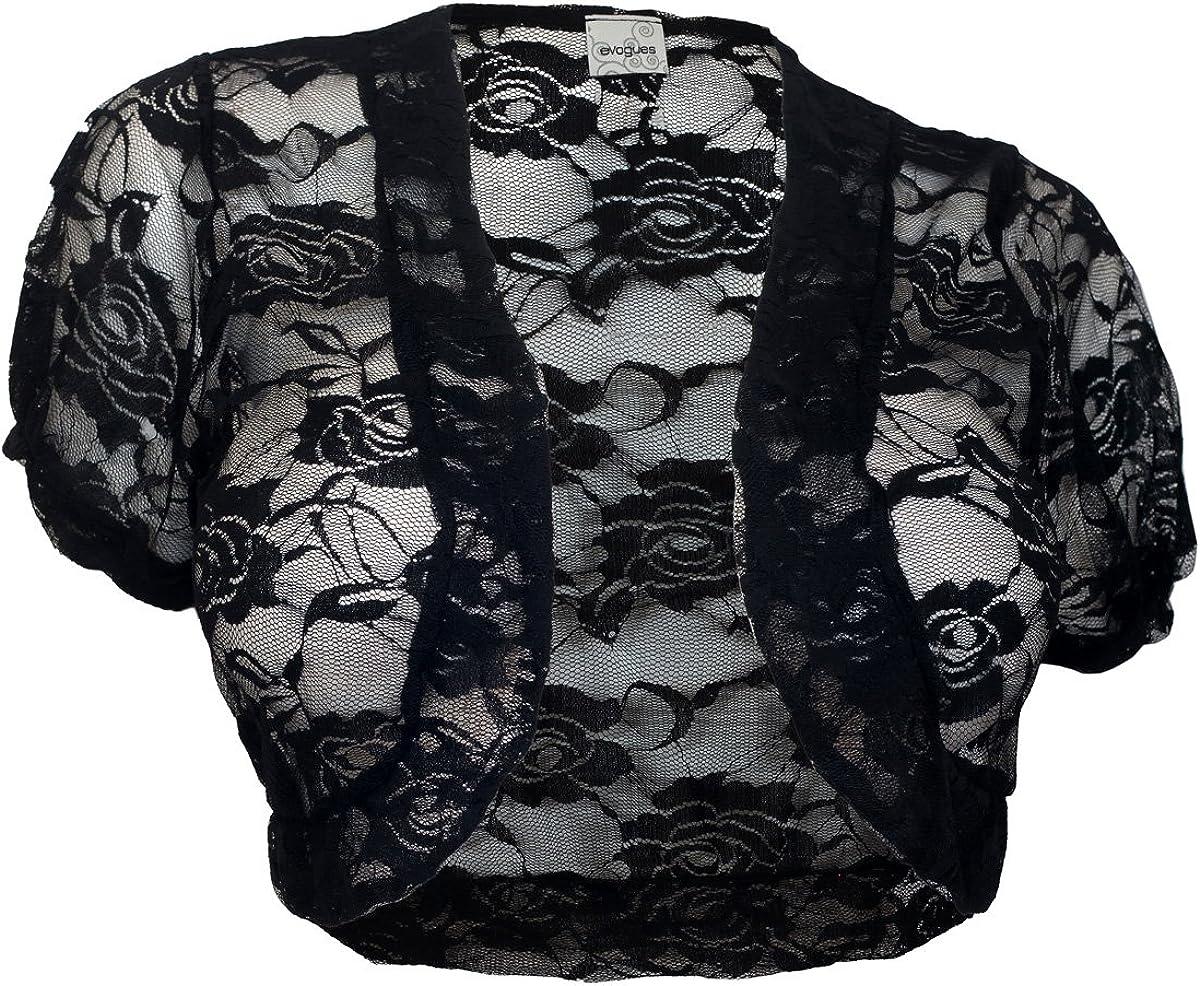 eVogues Sheer Cropped Short Sleeve Bolero Shrug