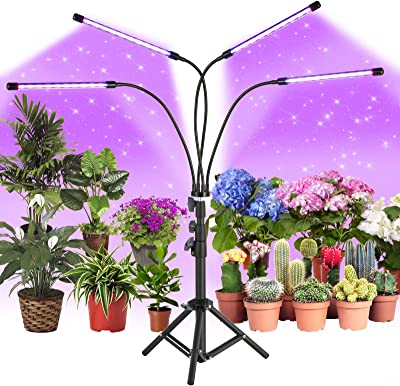 CRAZCALF 120 LED Grow Light for Indoor Plants 100W Four-Head Plant Light with Stand 9 Levels Brightness LED Grow Lights Full Spectrum 4//8//12H Timer Grow Lamp Tripod Adjustable 12-62 inch for Seedling